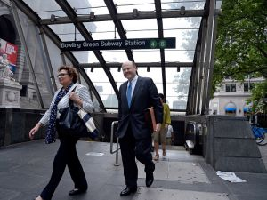 MTA Chairman Joe Lhota emerges from the Bowling Green subway station as he arrives at MTA headquarters for his first day as the new MTA Board Chairman on June 23, 2017. (Photo by Jefferson Siegel/NY Daily News via Getty Images)