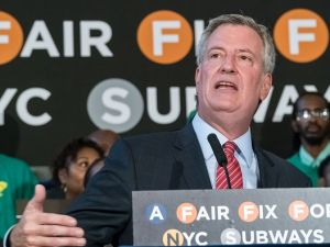 Mayor Bill de Blasio and city officials held a press conference at Brooklyn Borough Hall on Aug. 7, 2017 to announce the mayor's millionaires tax proposal.