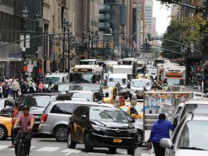 A picture taken on Sept. 18, 2017 shows heavy traffic in the streets of New York the day before the opening of the 72nd session of the United Nations General Assembly. (Photo credit should read LUDOVIC MARIN/AFP/Getty Images)