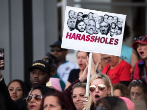 "Protesters attend a ""Me Too"" rally to denounce sexual harassment and assaults of women in Los Angeles, California on Nov. 12, 2017."