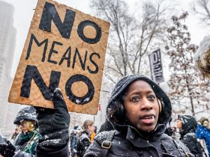 A #MeToo rally took place outside the Trump International Hotel at Columbus Circle on Dec. 9, 2017.