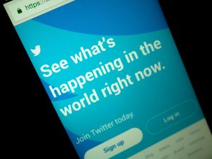 A close-up image showing the app of the micro blogging service Twitter on a smartphone in Manila, Philippines on Jan. 20, 2018.