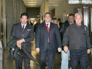 Former State Sen. Hiram Monserrate enters Kew Gardens court with lawyer Joe Tacopina for a verdict in his assault case on Oct. 15, 2009 in New York City. (Photo by Ellis Kaplan-Pool/Getty Images)