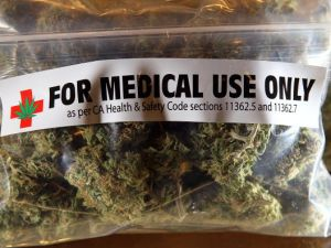 A one-ounce bag of medicinal marijuana is displayed at the Berkeley Patients Group March 25, 2010 in Berkeley, California.