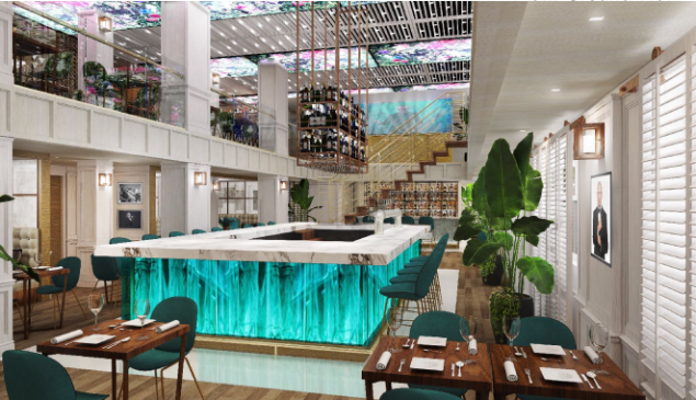 A rendering of iLov305's Dining Room and Bar.