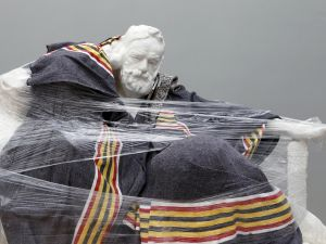 A sculpture by French sculptor Auguste Rodin wrapped for transit in 2012.