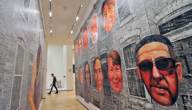 "BALTIMORE, MD- NOVEMBER 12: ""12 Portraits of Remington Residents"", 2012, by Gaia is seen in the Contemporary Wing of the Baltimore Museum of Art on Monday November 12, 2012 in Baltimore, MD. The wing includes works by Andy Warhol among other artists. ("