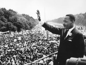 Black American civil rights leader Martin Luther King (1929 - 1968) addresses crowds during the March On Washington at the Lincoln Memorial, Washington D.C., where he gave his 'I Have A Dream' speech.