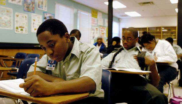 Freshman Donald Wiggins takes a final exam at the Forestville Military Academy in Forestville, Maryland.