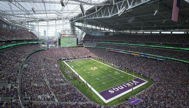 General stadium view of the U.S. Bank stadium in Minneapolis, Minnesota.