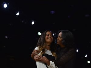 Michelle Obama and Malia Obama.
