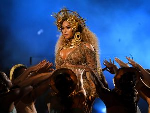 Beyonce performs onstage during The 59th Grammy Awards.