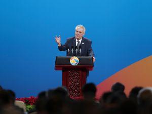 Czech Republic's President Milos Zeman speaks on May 14, 2017 in Beijing, China.