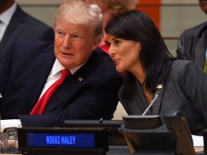 President Donald Trump and US ambassador to the United Nations Nikki Haley.