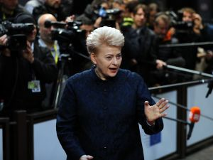 Lithuanian President Dalia Grybauskaite on October 20, 2017 in Brussels, Belgium.