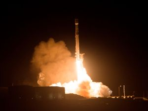 The SpaceX Falcon 9 rocket launches.