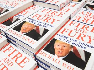 "A display of ""Fire and Fury"", Michael Wolff's book on President Trump's presidency."