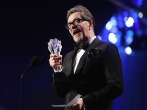 Actor Gary Oldman accepting the Best Actor award for 'Darkest Hour' onstage during the 23rd Annual Critics' Choice Awards on January 11, 2018.
