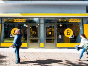 "A ""Bitcoin Change"" shop in the Israeli city of Tel Aviv."
