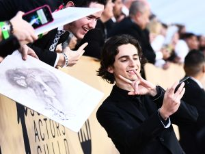 Timothee Chalamet attends the 24th Annual Screen Actors Guild Awards at The Shrine Auditorium.