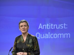 EU Competition Commissioner Margrethe Vestager gives a joint press conference at the EU Headquarters in Brussels, on January 24, 2018