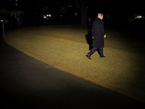 President Donald Trump leaves the White House for the World Economic Forum in Davos, Switzerland on January 24, 2018.