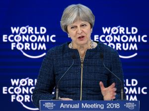 British Prime Minister Theresa May speaks at the World Economic Forum.