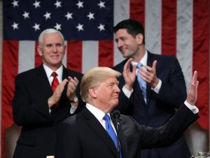 President Donald J. Trump during the State of the Union address as Vice President Mike Pence and Speaker of the House Rep. Paul Ryan look on in the chamber of the House of Representatives on January 30, 2018.