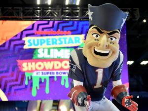 The New England Patriots mascot onstage at Nickelodeon at the Super Bowl Expereince during NFL Play 60 Kids Day on January 31, 2018 in Minneapolis, Minnesota.