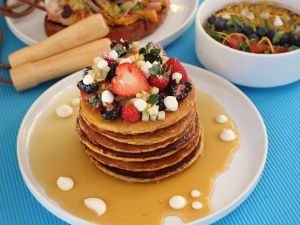This is what a stack of healthy-ish pancakes looks like.