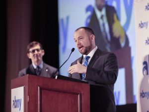 City Council Speaker Corey Johnson speaks at the Association for a Better New York's power breakfast for the first time.