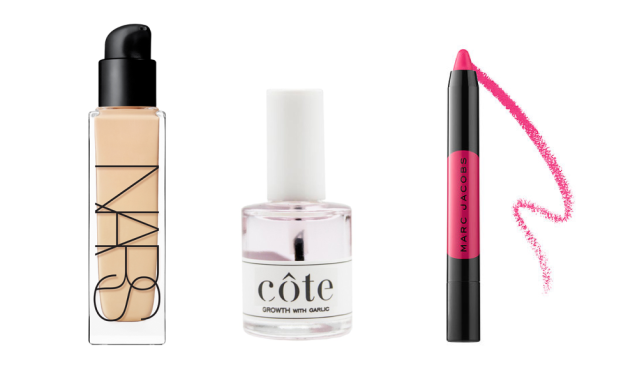 Nars Natural Radiant Longwear Foundation, Cote Growth With Garlic and Marc Jacobs Le Marc Liquid Lip Crayon.
