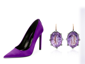 Tom Ford pumps, Montse Esteve earrings and an ultra violet-inspired cake.