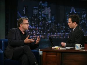 Former MSNBC host Dylan Ratigan speaks during an interview with Jimmy Fallon on Feb. 16, 2012.