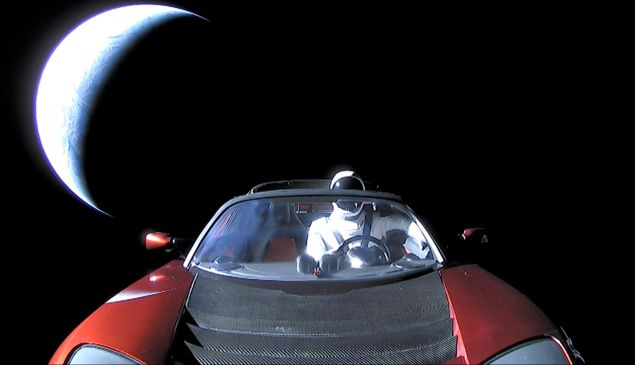 Tesla Roadster, which launched on top of SpaceX's Falcon Heavy on Tuesday, is going toward the Asteroid Belt.
