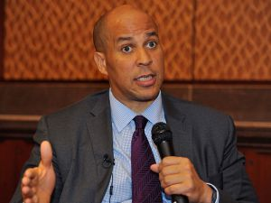 "Sen. Cory Booker (D-NJ) discusses juvenile justice and Fusion's forthcoming documentary ""Prison Kids"" at the Capitol Visitor's Center on Sept. 30, 2015 in Washington, DC. (Photo by Larry French/Getty Images for Fusion)"