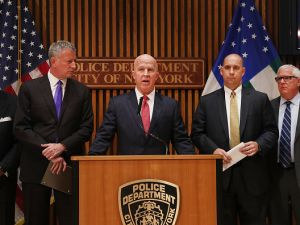 Police Commissioner James O'Neill and Mayor Bill de Blasio at a news conference about Chelsea bomber Ahmad Rahimi on Sept. 19, 2016 in New York City.