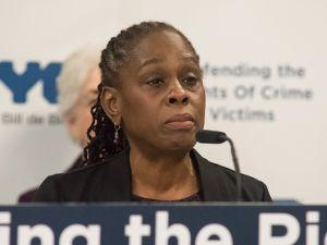 First Lady Chirlane McCray speaks at a press conference at the Manhattan Family Justice Center in Lower Manhattan on Oct. 26, 2016 about the expansion of the city's paid sick leave law to help domestic violence victims.