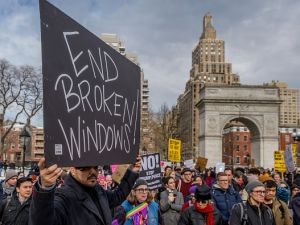 A large immigrant-led coalition held a rally at Washington Square Park against what they say is the city's collaboration with federal immigration authorities on Feb. 11, 2017.