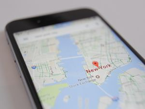 The Google Maps app displaying part of Manhattan on an iPhone.