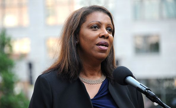 Public Advocate Letitia James speaks during the Anne Frank Tree Dedication at Liberty Park on June 12, 2017 in New York City. (Photo by Desiree Navarro/Getty Images)