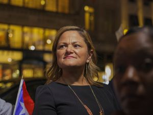 Former City Council Speaker Melissa Mark-Viverito at a rally outside of Trump Tower in support of Puerto Rico in the aftermath of Hurricane Maria on Oct. 3, 2017 in New York City.