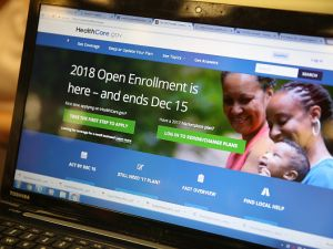 A computer screen shows the enrollment page for the Affordable Care Act on Nov. 1, 2017 in Miami, Florida.