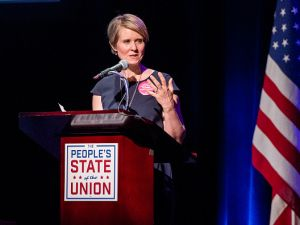 "Actress and education activist Cynthia Nixon speaks onstage during ""The People's State Of The Union"" at Town Hall on Jan. 29, 2018 in New York City."