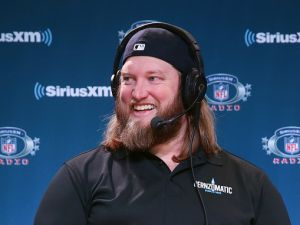 NFL player Nick Mangold attends SiriusXM at Super Bowl LII Radio Row at the Mall of America on Feb. 1, 2018 in Bloomington, Minnesota.