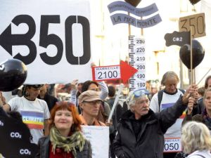 Climate activists gather in Marseille, France during a demonstration held by 350.org on Oct. 24, 2009.