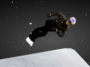 Austrian snowboarder Anna Gasser photographed in midair.