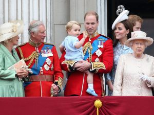 LONDON, ENGLAND - JUNE 13: (L-R) Camilla, Duchess of Cornwall, Prince Charles, Prince of Wales, Prince George of Cambridge,Prince William, Duke of Cambridge, Catherine, Duchess of Cambridge, Queen Elizabeth II, Prince Harry look out on the balcony of Buckingham Palace during the Trooping the Colour on June 13, 2015 in London, England. . The ceremony is Queen Elizabeth II's annual birthday parade and dates back to the time of Charles II in the 17th Century when the Colours of a regiment were used as a rallying point in battle. (Photo by Chris Jackson/Getty Images)