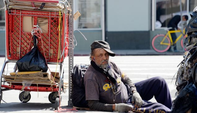 A homeless man in the skid row section of Los Angeles, California.