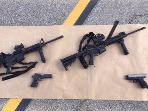 Four guns near the site of a shootout between police and suspects in the San Bernardino shootings, December 4, 2015 in San Bernardino, California.